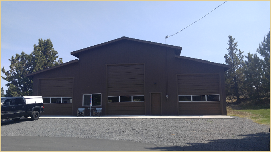 The exterior of the custom outbuilding in Bend, OR.